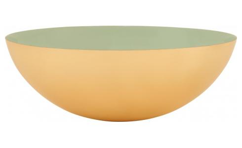 Decorative bowl made of metal, green and golden