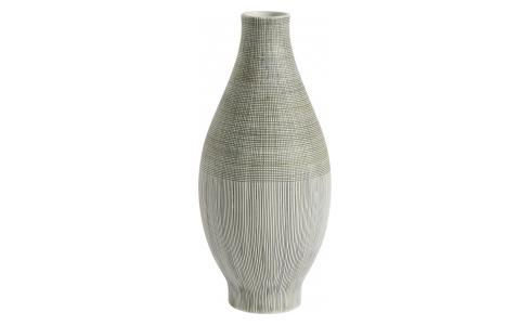 Vase made of textured porcelain, green