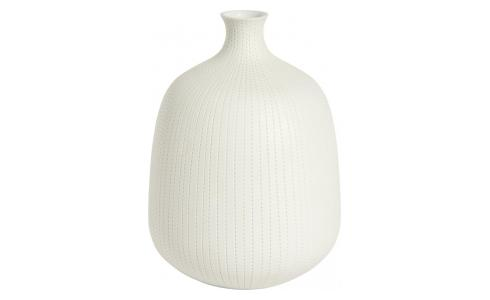 Vase made of textured porcelain, white