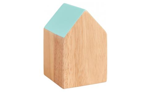 Paperweight home shape made of wood, blue