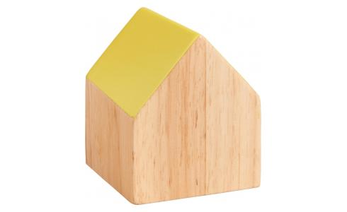 Paperweight home shape made of wood, yellow