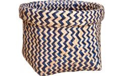 Square basket made of seagrass, with patterns
