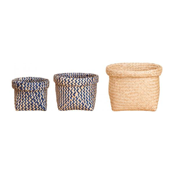 Square basket made of seagrass, with patterns n°4