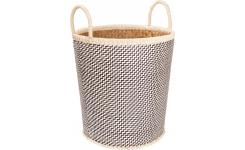 Basket made of palmtree leaves, 41x44cm, black and natural