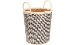 Basket made of palmtree leaves, 35x40cm, black and natural