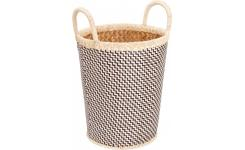 Basket made of palmtree leaves, 28x36cm, black and natural