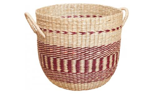 Basket made of seagrass, 35x30cm, with red patterns