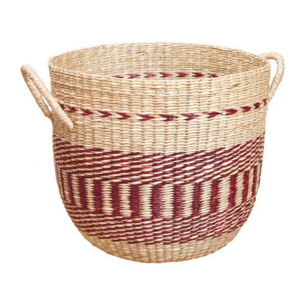 Basket made of seagrass, 35x30cm, with red patterns n°1