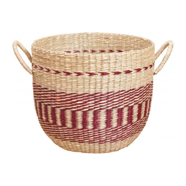 Basket made of seagrass, 35x30cm, with red patterns n°2