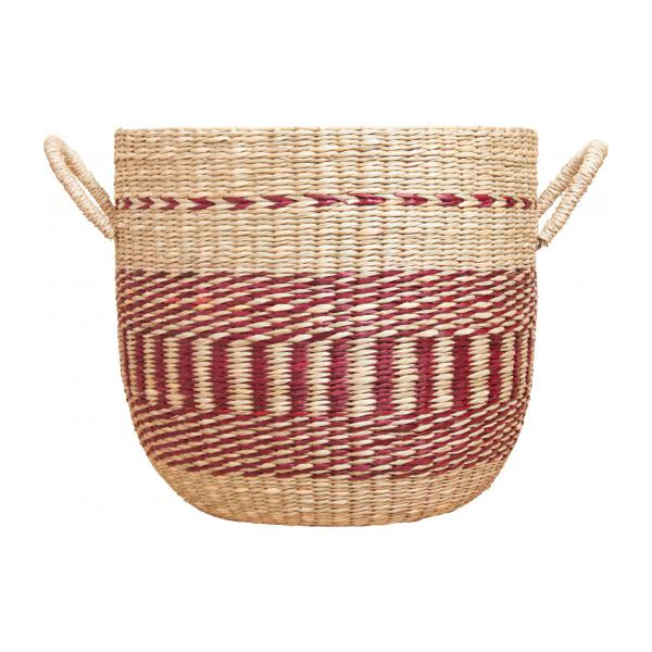 Basket made of seagrass, 35x30cm, with red patterns n°3