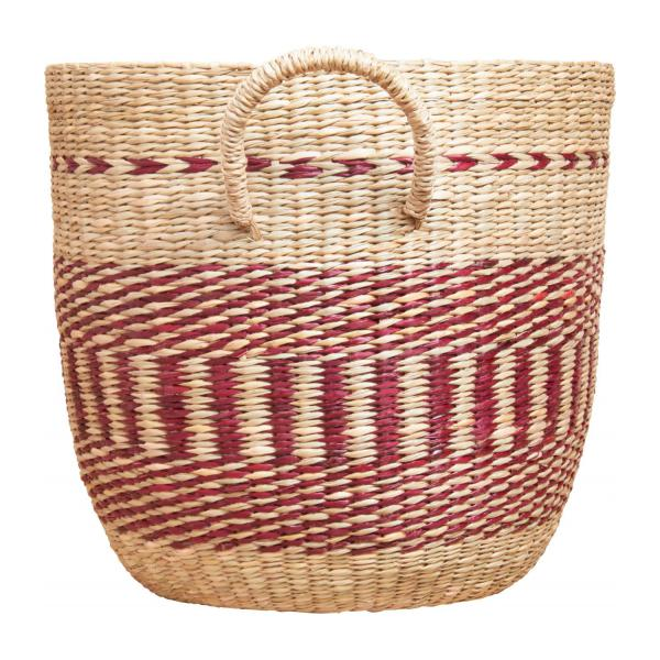 Basket made of seagrass, 35x30cm, with red patterns n°4