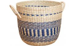 Basket made of seagrass, 35x30cm, with blue patterns