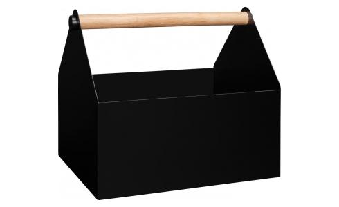 Magazine box made of metal and wood, black