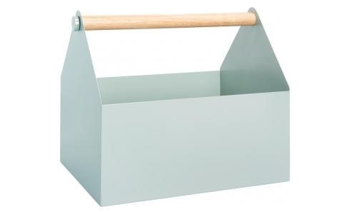 Magazine box made of metal and wood, green