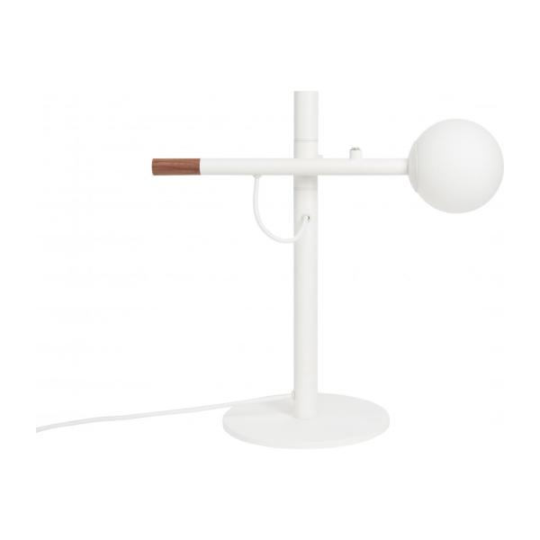 Lampe de table 40cm en fer, noyer et verre - Design by Gaston Lobet n°3