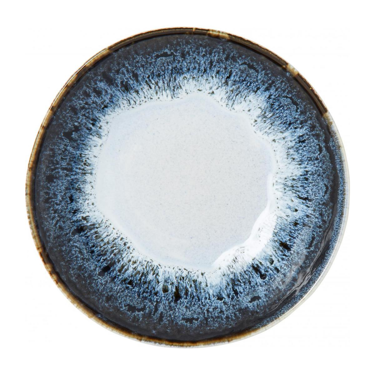 Soup plate made of sandstone 17cm, white and black n°2