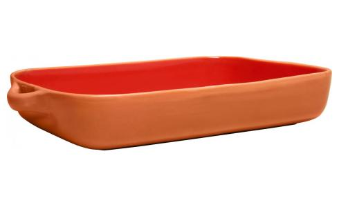 Oven dish made of terracotta, red
