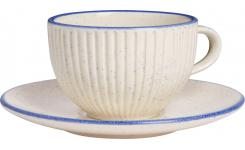 Tea cup et soucoupe made of faience, white and blue