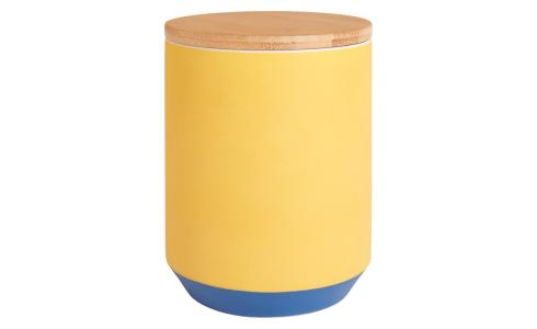 Box made of porcelain and bamboo 16cm, yellow