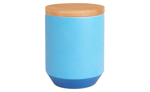 Box made of porcelain and bamboo 12cm, blue
