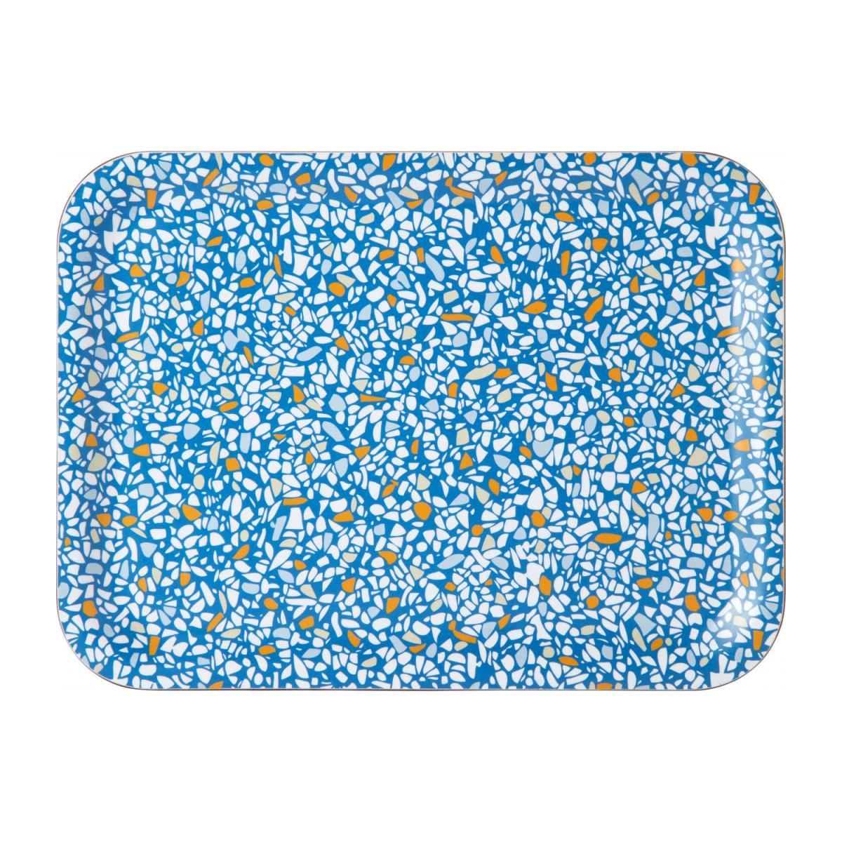 Rectangular tray 21x27cm, with blue terrazzo patterns n°1