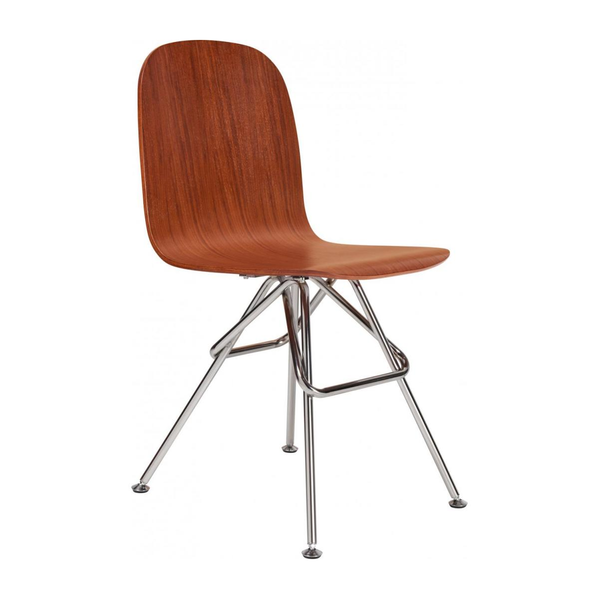 Walnut chair and chrome steel legs n°1