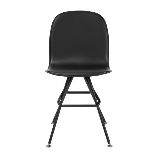 Chair with black faux leather cover and black steel legs n°2