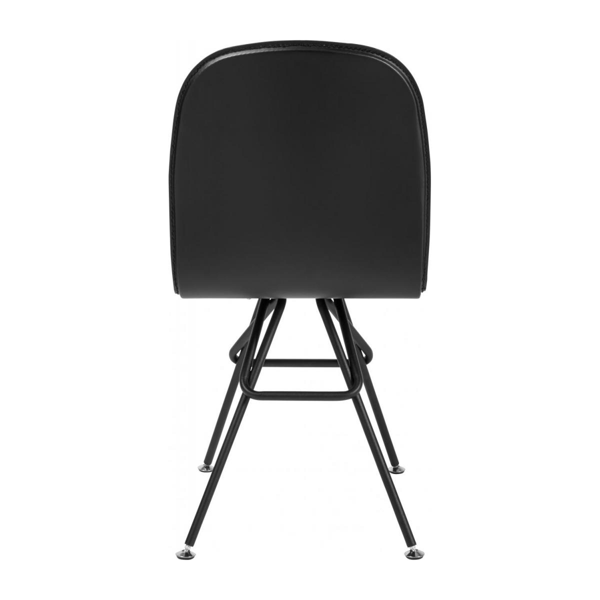 Chair with black faux leather cover and black steel legs n°3