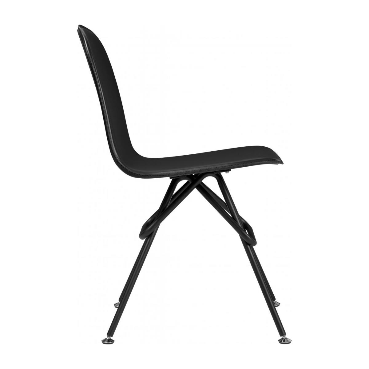 Chair with black faux leather cover and black steel legs n°4