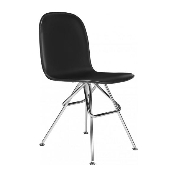 Chair with black faux leather cover and chrome steel legs n°1