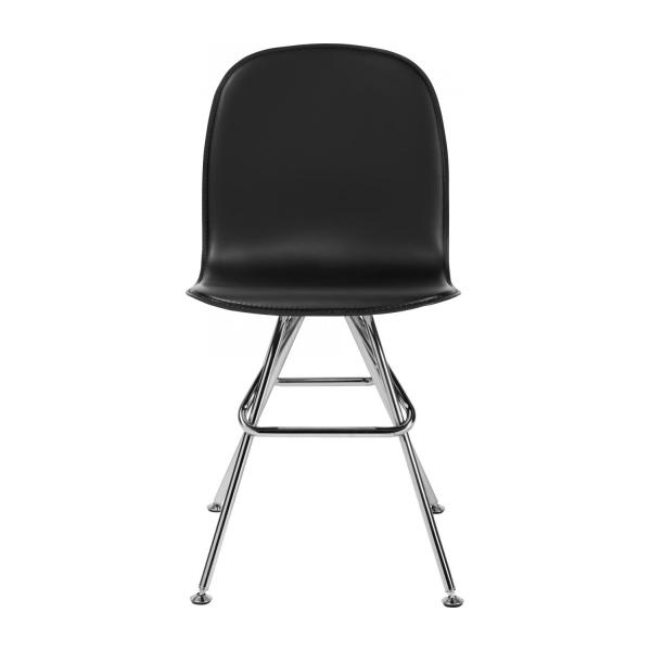 Chair with black faux leather cover and chrome steel legs n°2