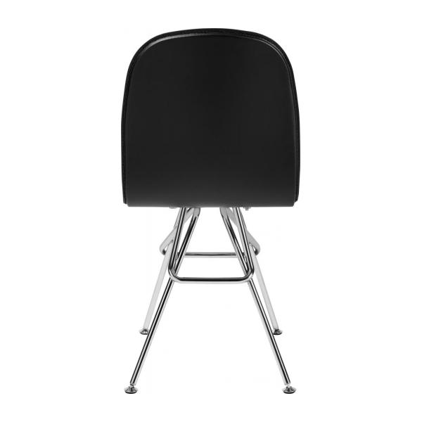 Chair with black faux leather cover and chrome steel legs n°3