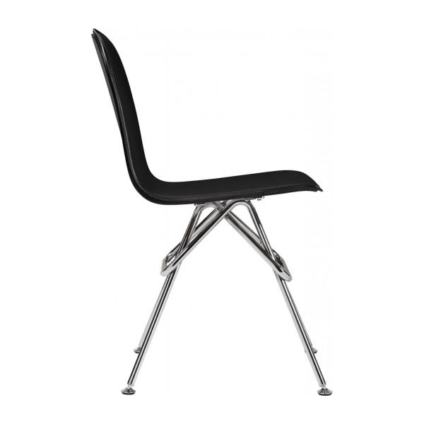 Chair with black faux leather cover and chrome steel legs n°4