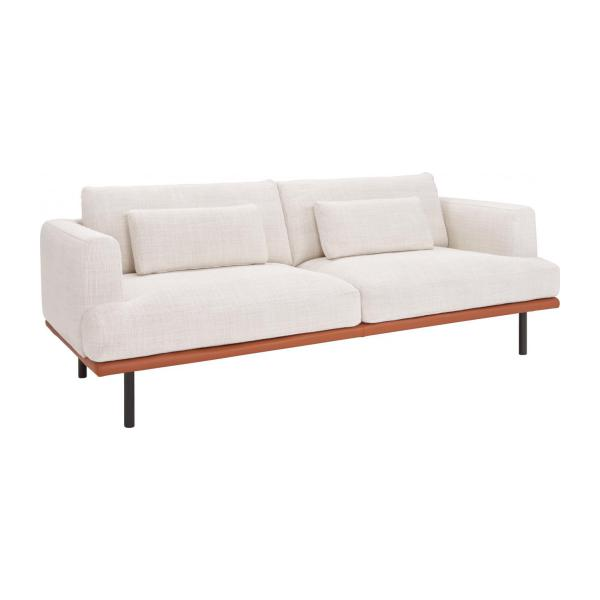 2 seater sofa in fasoli fabric snow white with base in brown leather n - Canape Habitat