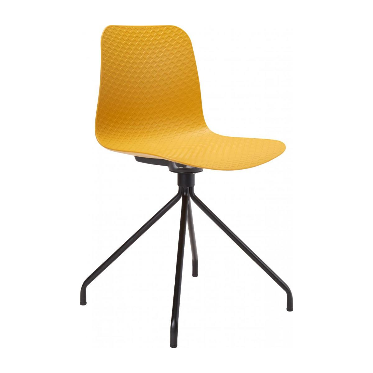 Yellow chair in polypropylene and lacquered steel legs n°1