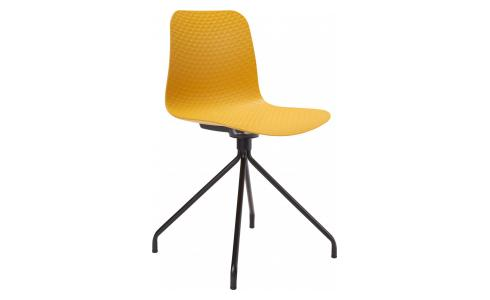 Yellow chair in polypropylene and lacquered steel legs