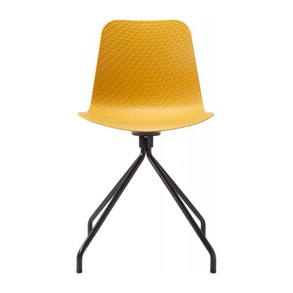 Yellow chair in polypropylene and lacquered steel legs n°2
