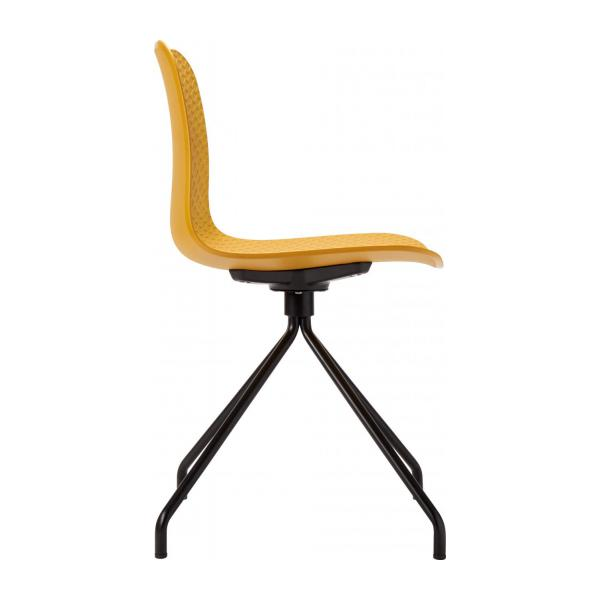 Yellow chair in polypropylene and lacquered steel legs n°4