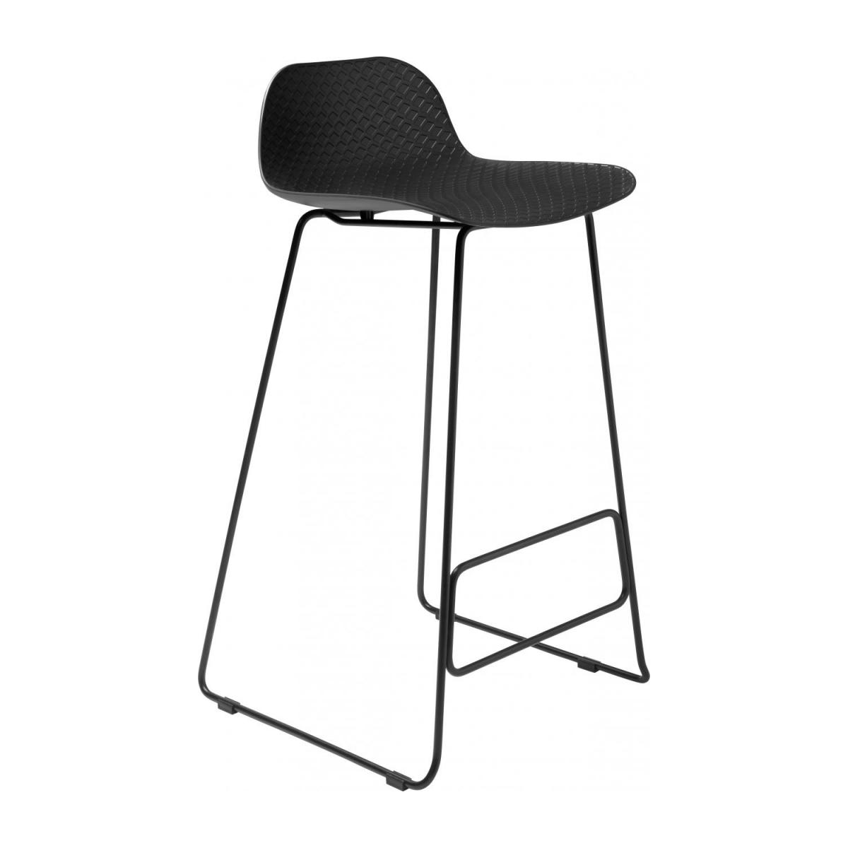 Black high stool in polypropylene and lacquered steel legs n°1