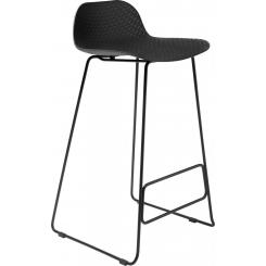 Black high stool in polypropylene and lacquered steel legs