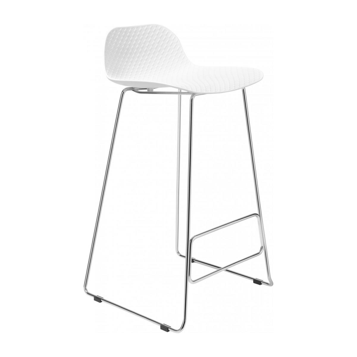 White high stool in polypropylene and lacquered steel legs n°1