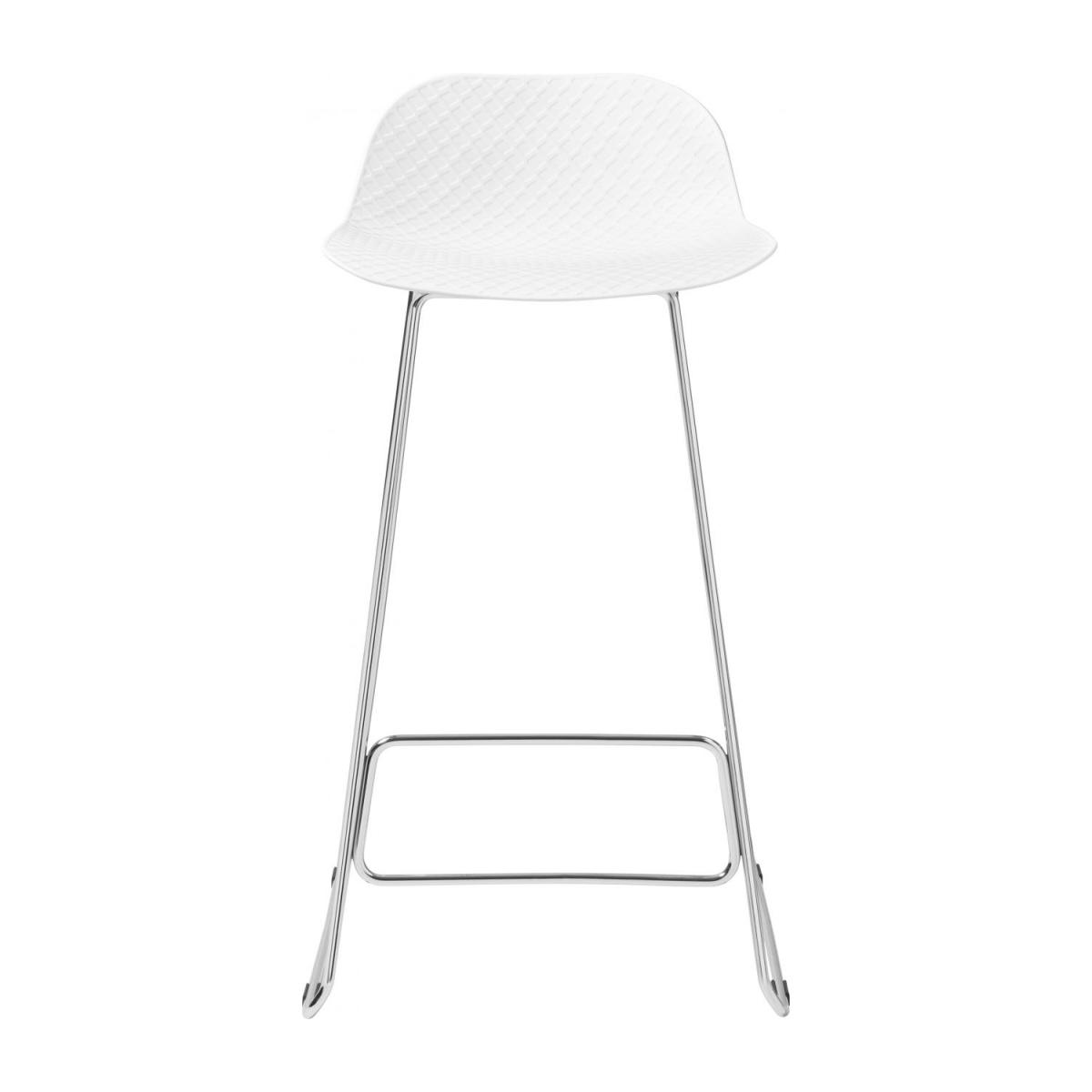 White high stool in polypropylene and lacquered steel legs n°2