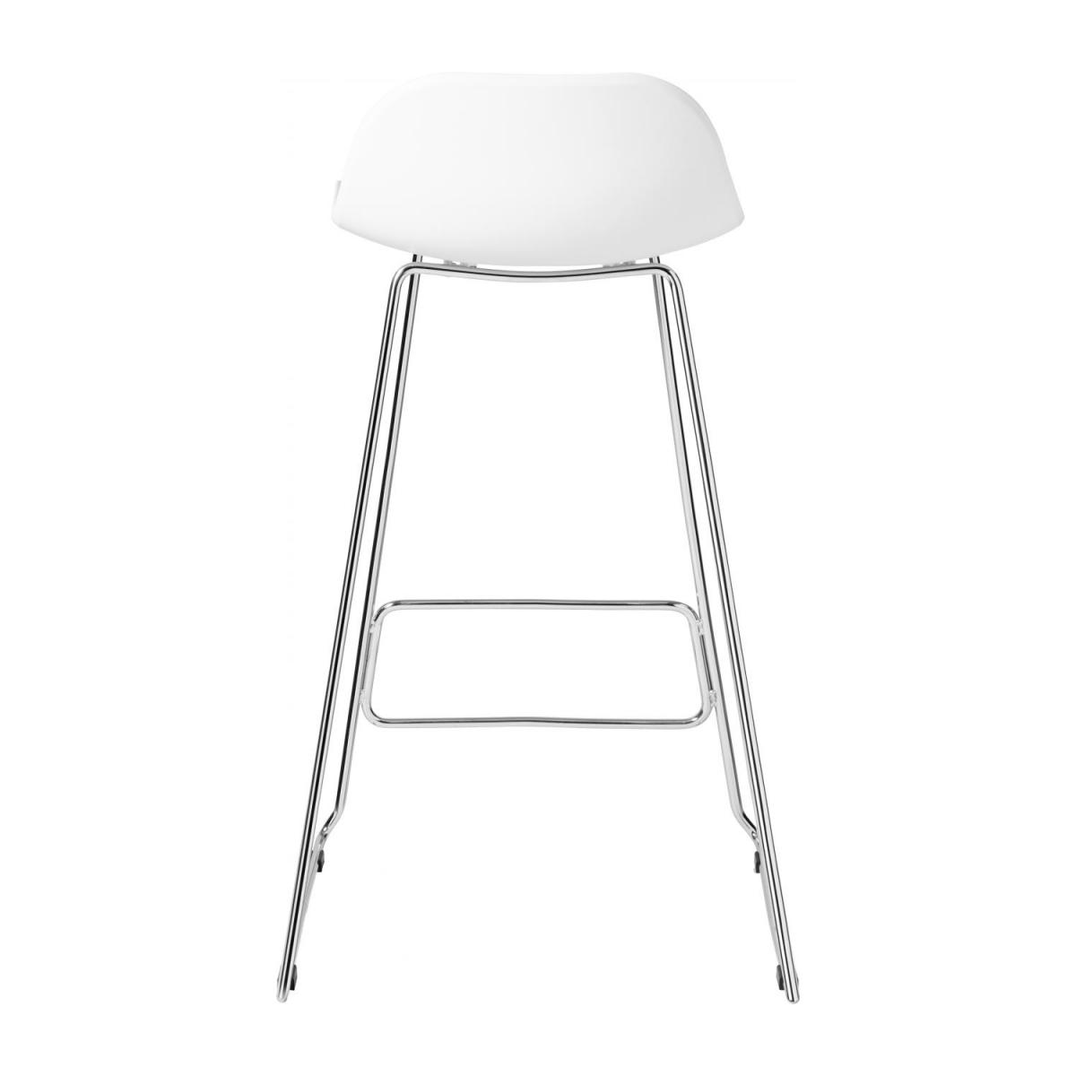 White high stool in polypropylene and lacquered steel legs n°3