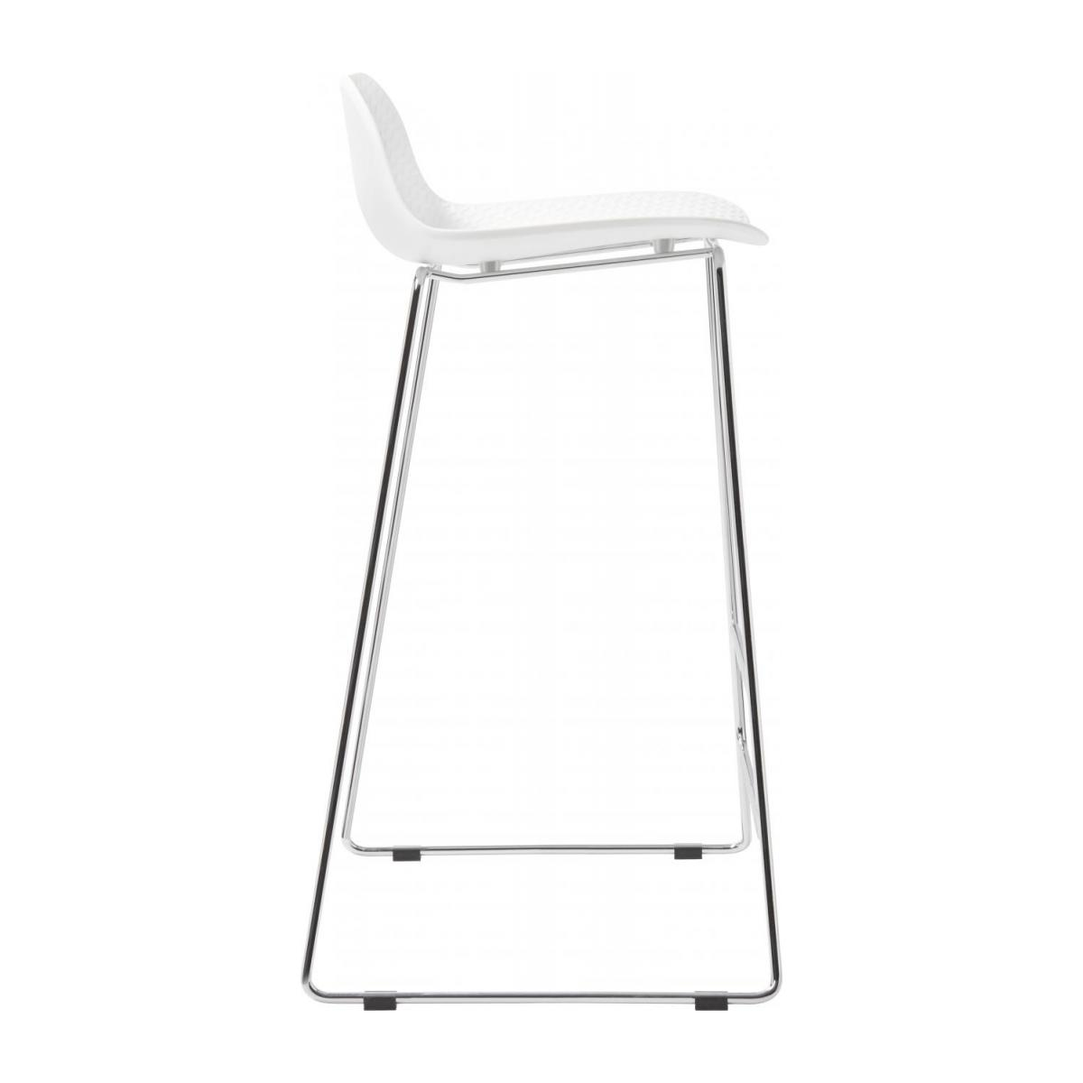 White high stool in polypropylene and lacquered steel legs n°4