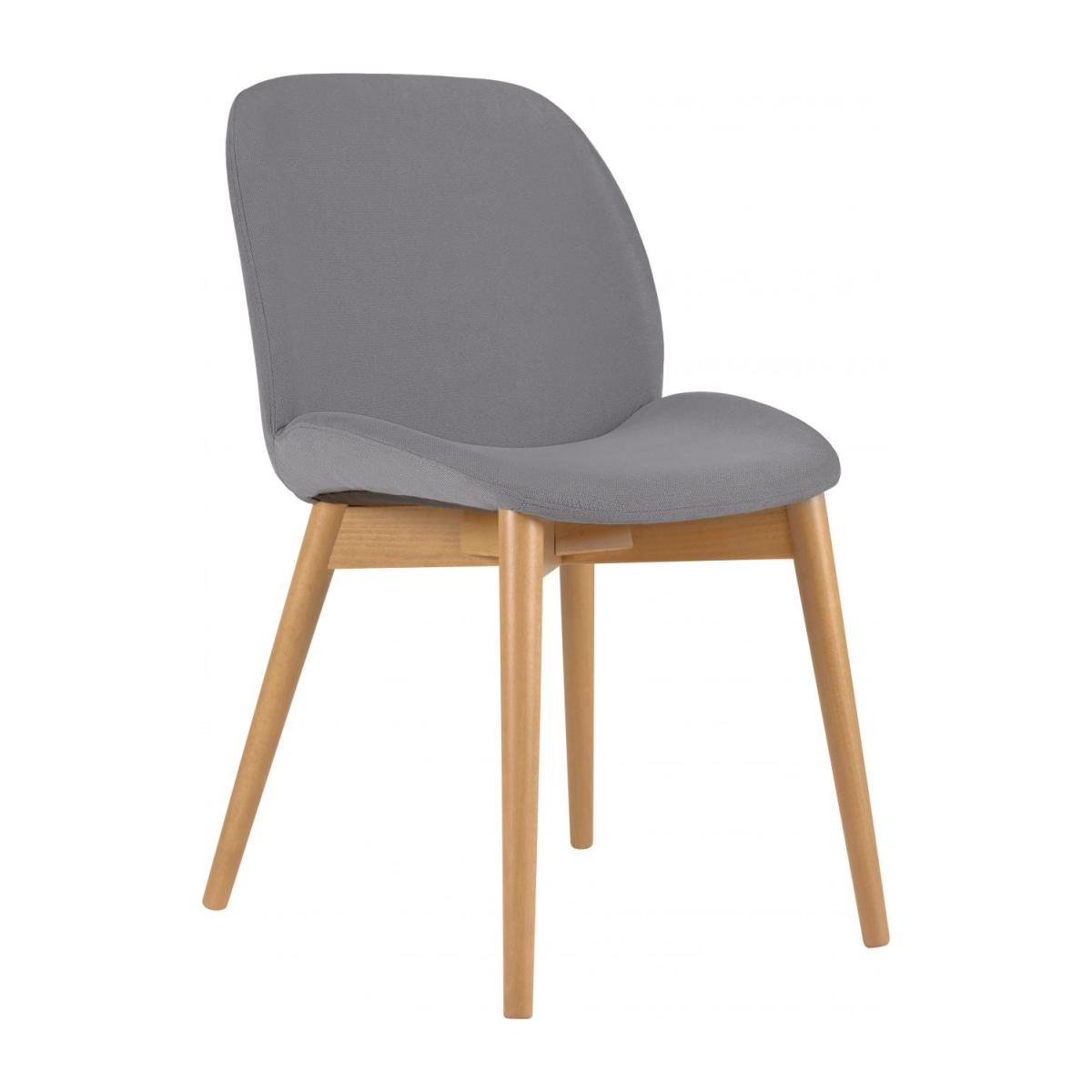 Chair with grey fabric cover and beech wood legs n°1