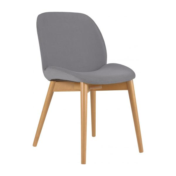 Merveilleux Chair With Grey Fabric Cover And Beech Wood Legs N°1