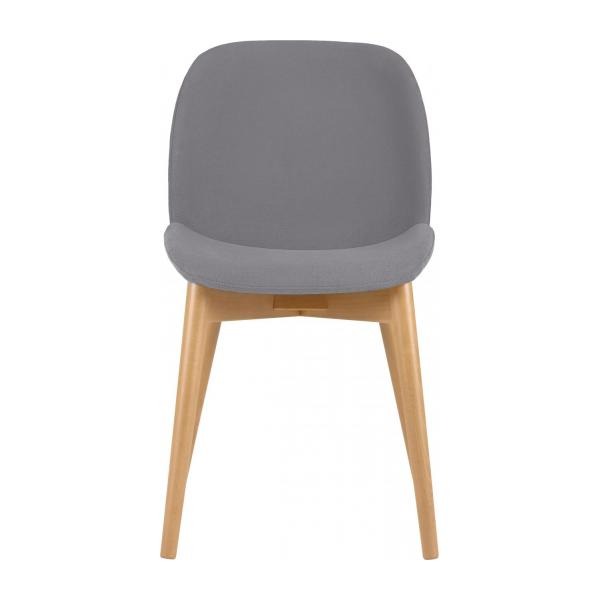 Chair with grey fabric cover and beech wood legs n°2