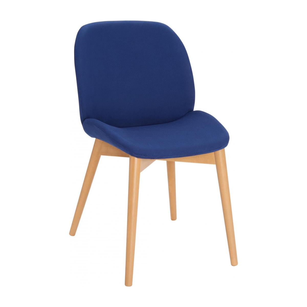 Chair with blue fabric cover and beech wood legs n°1