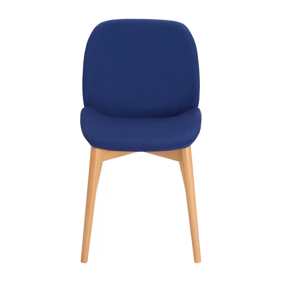 Chair with blue fabric cover and beech wood legs n°2