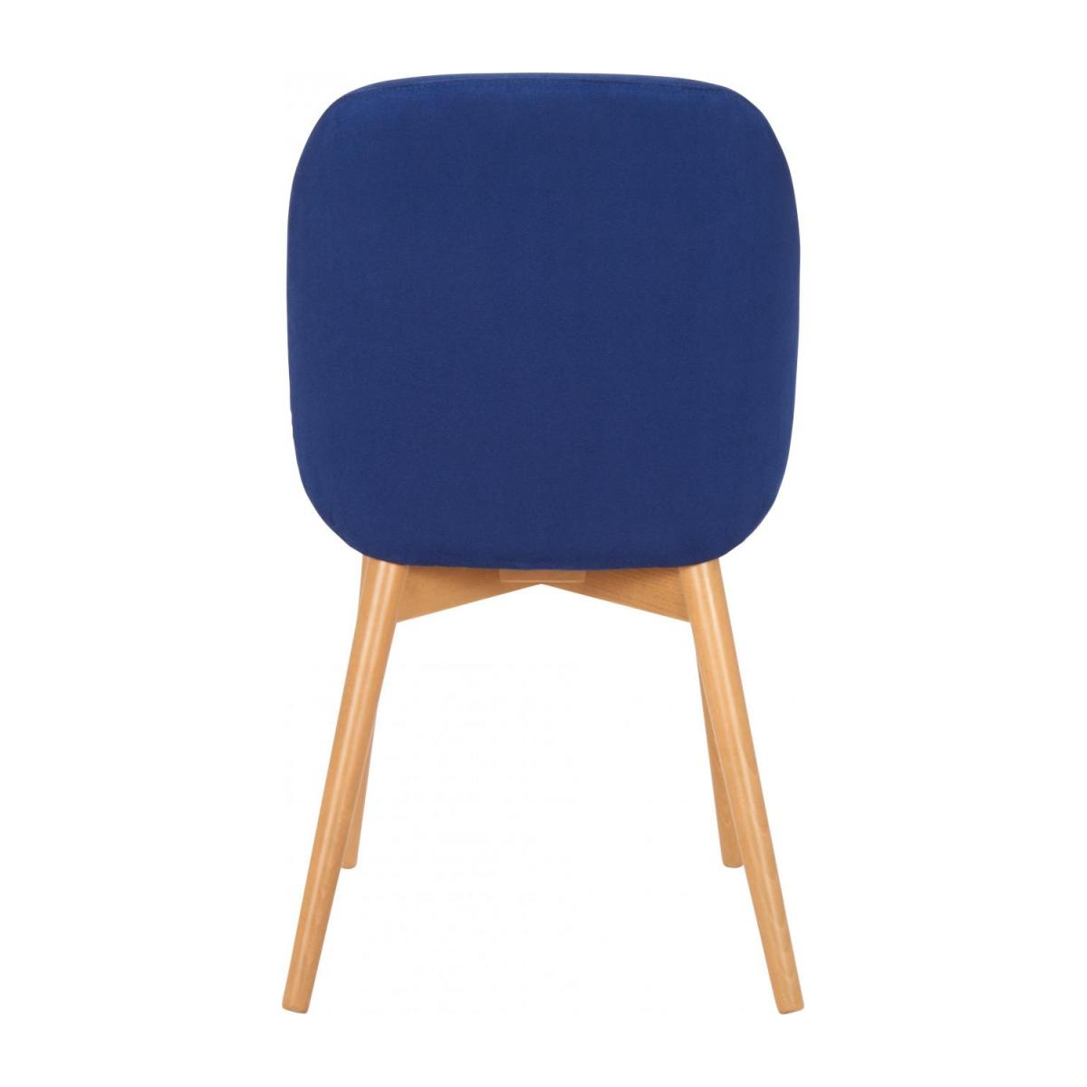 Chair with blue fabric cover and beech wood legs n°3